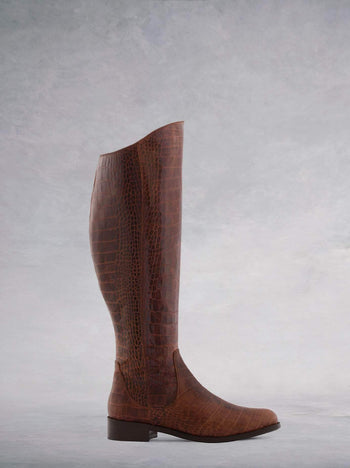Huntsman Brown Mock Croc Leather - Flat, knee-high classic leather riding boots.