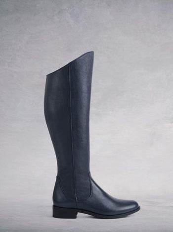 Huntsman Ink Navy Leather - Flat, knee-high classic leather riding boots.