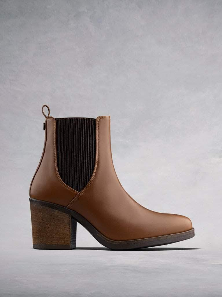 Isidor, our tan leather high heeled Chelsea boot with textured contrasting elastic.