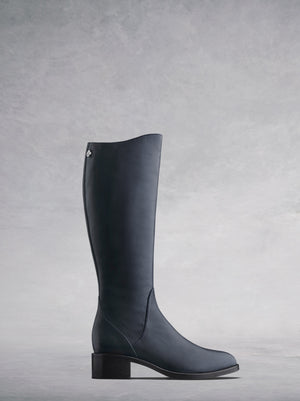 The Kestrel; a versatile smooth navy leather riding-style boot.