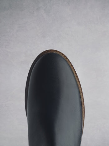 Kielder Navy Leather - Flat ankle boots with E.V.A sole.