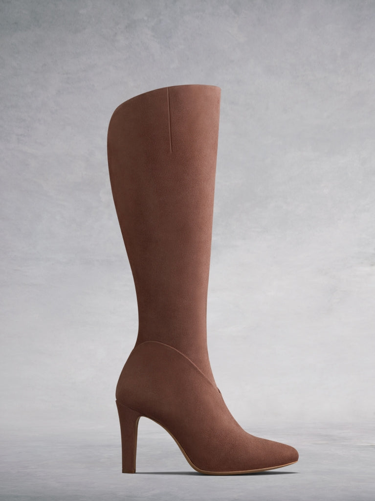The Kinver, the stylish high heeled knee high boot in blush pink suede.
