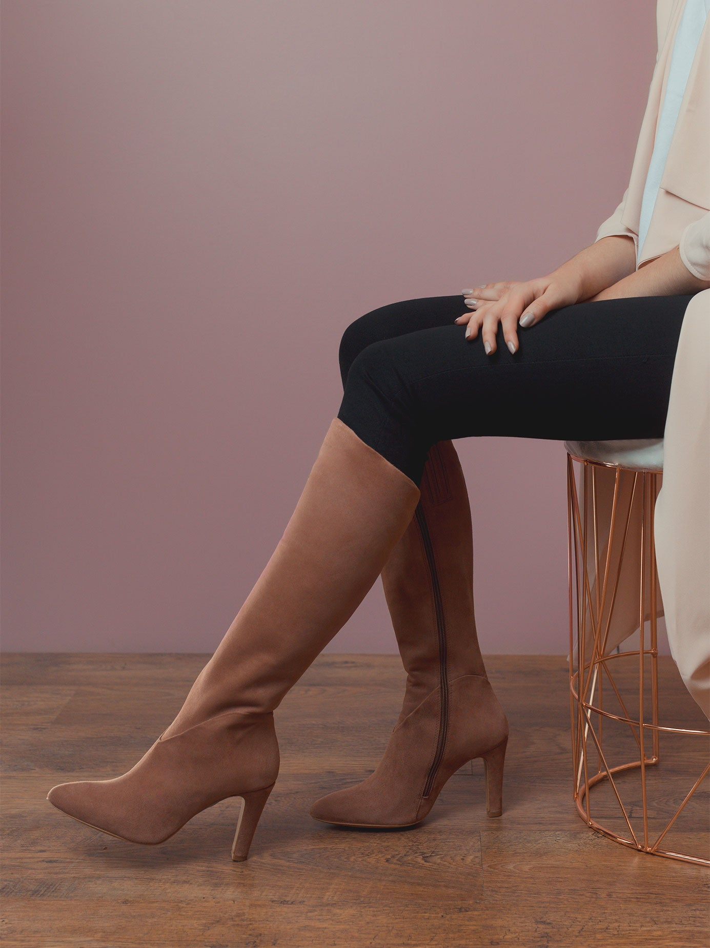 Kinver Blush Pink Suede: elegant sweet heart seam around ankle.