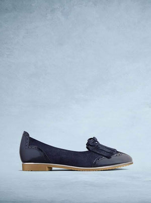 Lamorna is our sophisticated ballet pump made from navy suede and leather.