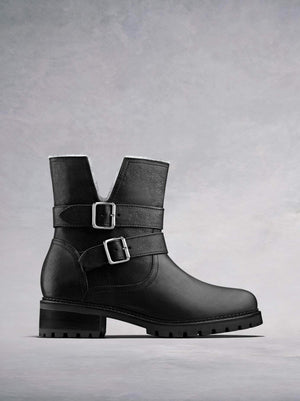 Longleat, our black leather biker style ankle boot with a heavy tread sole. Available in our standard or wider fit.
