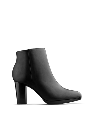 Loxton, our versatile high-heeled smooth black leather ankle boot.