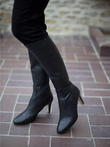 Luxor, a versatile and timeless high heeled, knee high black leather boot.