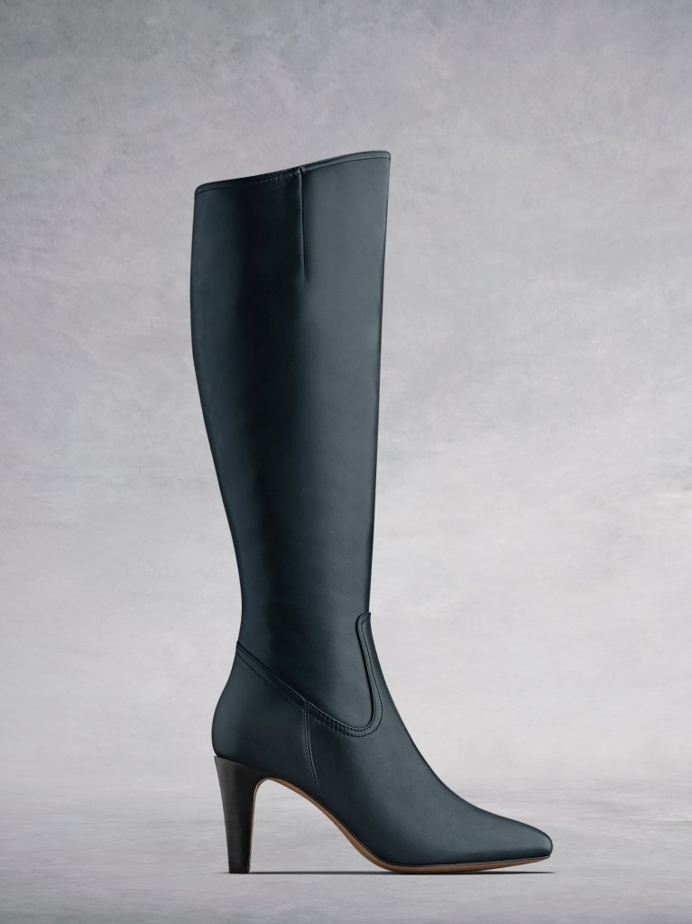 Luxor Navy Leather - Simple, versatile leather  boots with stacked heel.