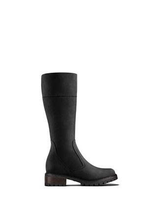 Lynwood Black Nubuck - Knee high boots with heavy tread sole
