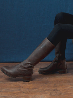 Lynwood Waxed Brown Nubuck - Knee high boots with heavy tread sole