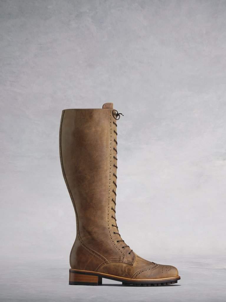 The Marvel; brogue inspired lace-up knee high boots in tan calf leather.