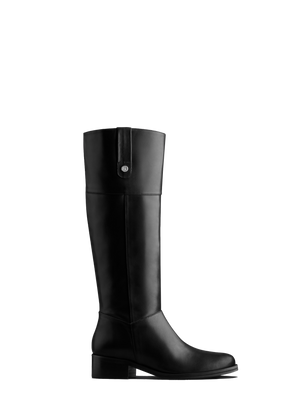 Midnight Black Leather - Must-have, knee-length, leather riding boots