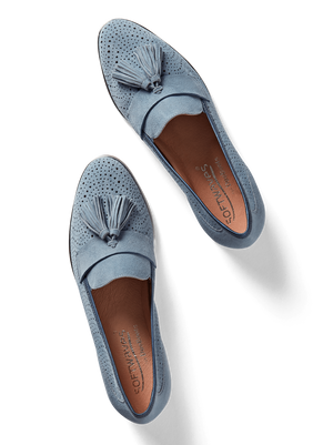 Milford Chambray Blue Suede - Flat sole tassel loafer in suede
