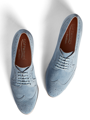 Mullion Chambray Blue Suede - Colourful brogue style lace up shoe
