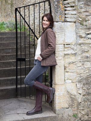 Oakford Brown Nubuck - Water-resistant outdoor knee high boot