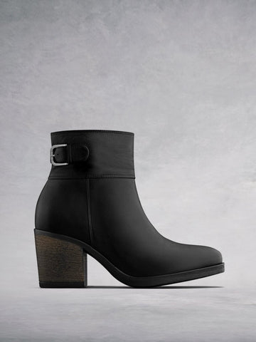 Orpheus Black Leather - Casual mid block heel ankle boots.