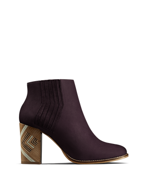 Paragon, a luxury purple nubuck Chelsea boot with a hand stacked leather heel.