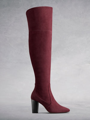 The Parkhurst, a luxury burgundy suede over the knee boot.