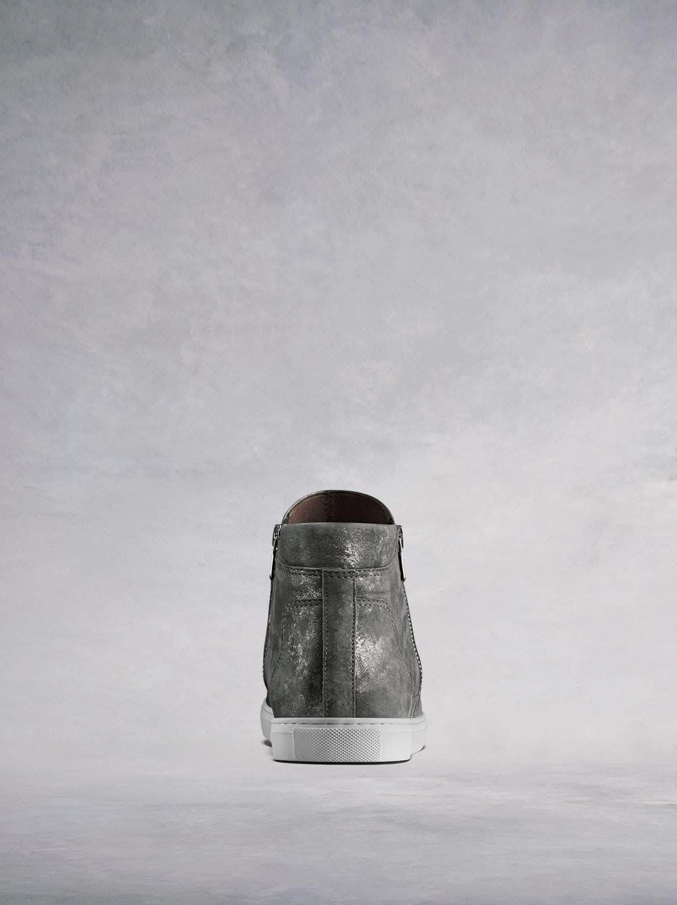 Made from stylish pewter metallic leather with a contrast white sole.