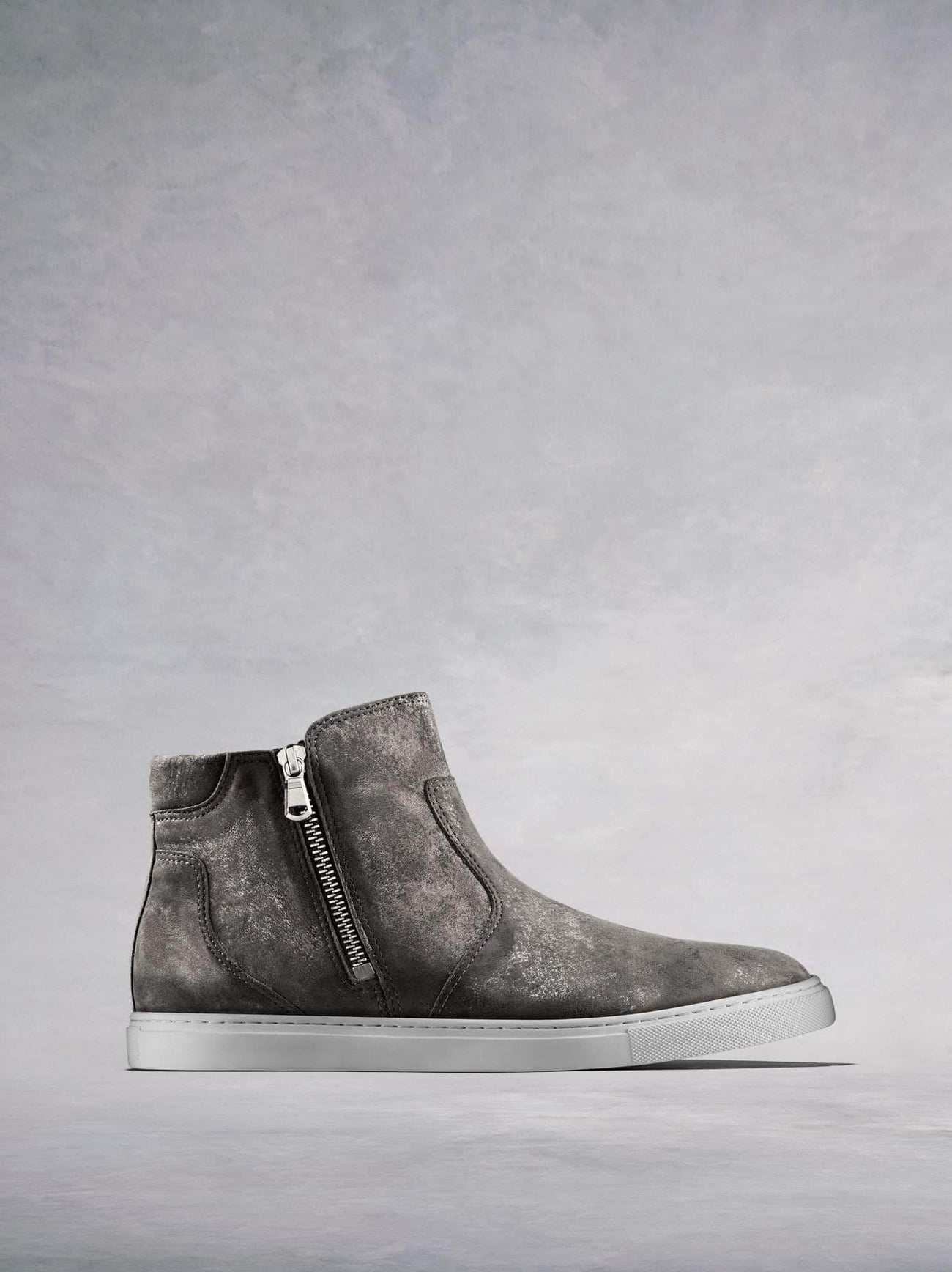 Parsonage, a stylish hi-top trainer in pewter metallic leather.