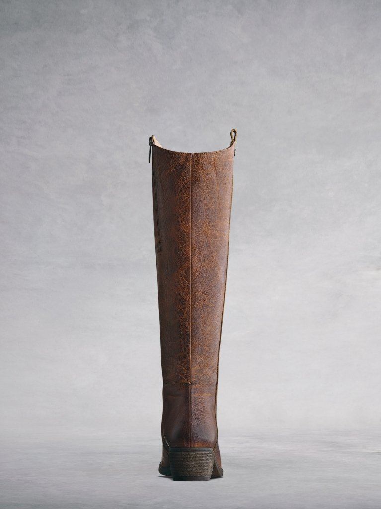 Phoenix Tan Leather - Western-inspired, leather knee-high boots.