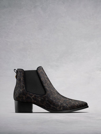 Pixie Leopard Suede - Chelsea ankle boots with pointed toe.