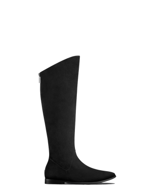 Raven Black Suede - Flat suede boot with a hidden wedge