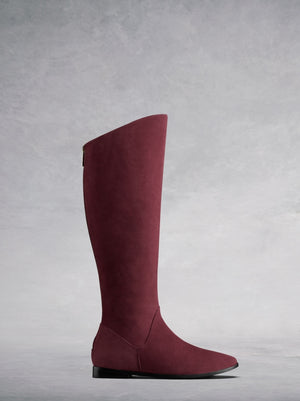 The Raven - a chic flat boot with a hidden wedge in soft burgundy suede.