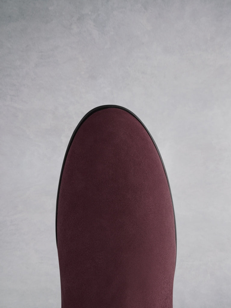 Raven Burgundy Suede - Flat suede boots with a hidden wedge.