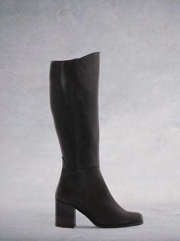 Reflection Black Leather - Knee-high boots with leather covered heel.