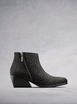 Renata Grey Leopard Hair Leather - Statement ankle boot with angular heel.