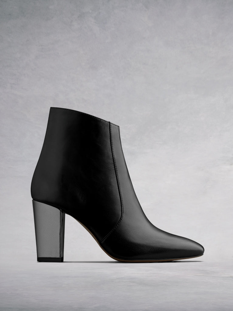 The Sarsgrove, a statement black leather high heeled ankle boot.