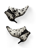 Monochrome Somerton, a kitten heel Chelsea boot in white and black hair leather.