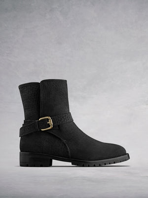 Winfell Black Nubuck - Biker-style ankle boots with shearling lining.