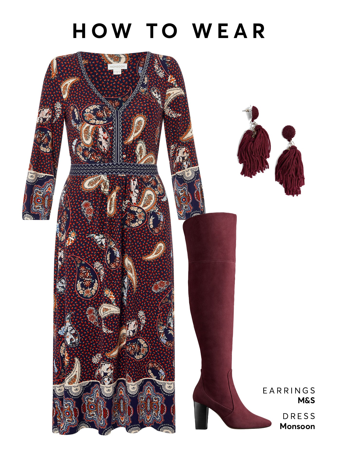 Wear the burgundy OTK boot with a floral wrap dress or skinny jeans.