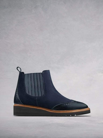 Abril Navy Suede - Brogue Chelsea boots with lightweight sole.