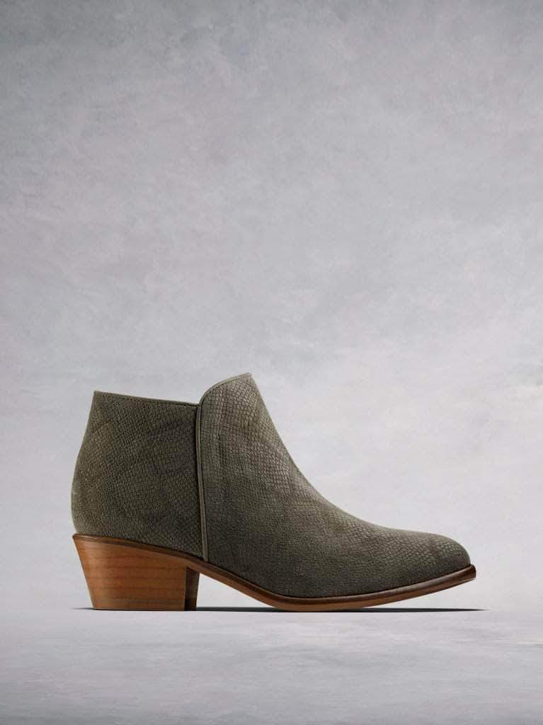 Albus, the simple yet stylish low cut lizard embossed khaki suede ankle boot.