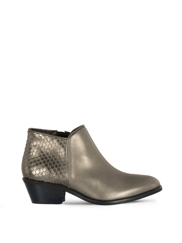 Albus Pewter Metallic - Low-heel versatile ankle boots.