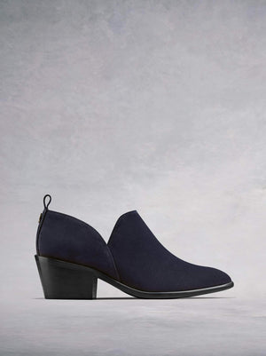 Avalon, a stylish shoe boot slip on, in soft navy suede.