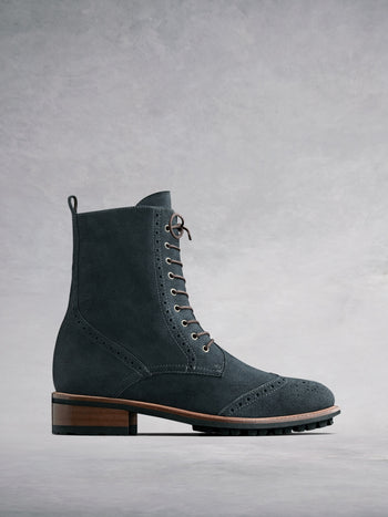 Balla Grey Suede - Classic brogue lace up ankle boots.
