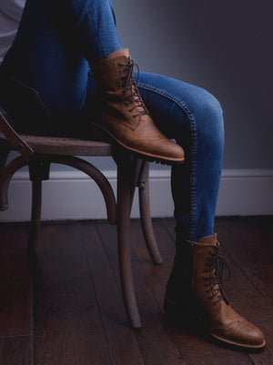 Balla, our brogue inspired tan leather lace up ankle boot.