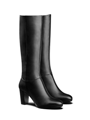 Belmore Black Leather - Sophisticated platform knee high boot