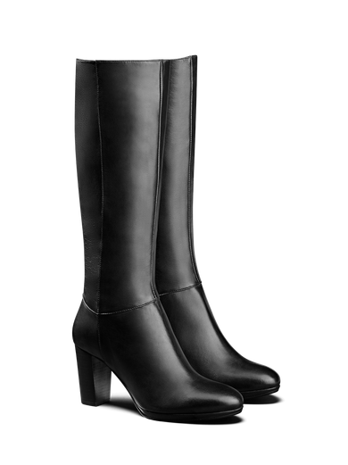 Belmore, a stylish knee high leather boot with a 1cm platform for added height.