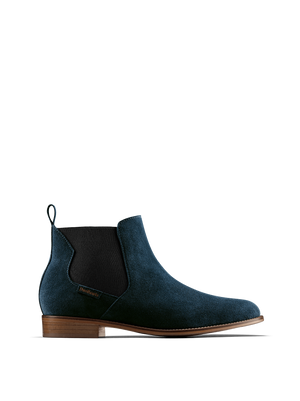 Berkley, our petrol blue Chelsea boot with a contemporary shaped elastic panel.