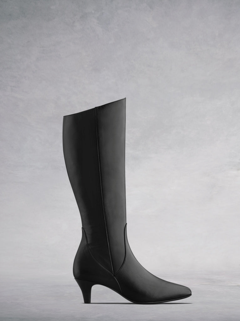 ab3544dde0a Breedon Black Leather Kitten Heel Knee High Boots