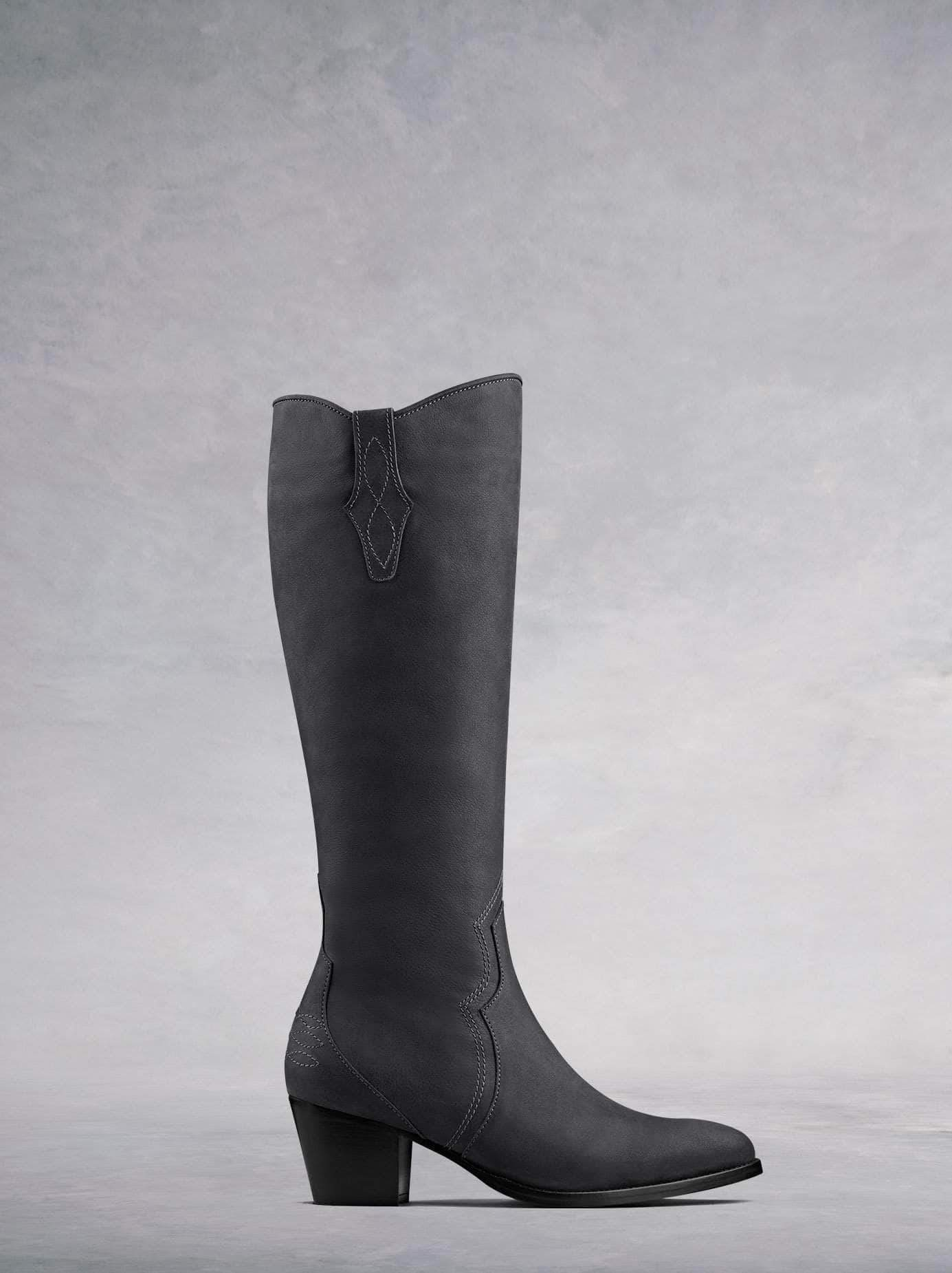 Buckland, our elegant Western-inspired knee high boot crafted from grey nubuck leather with intricate detailing. Available in a wide range of calf sizes.