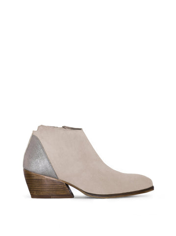 Buell Taupe Suede - Metallic ankle boots with an angular heel.