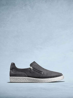 Crantock Slate Grey Leather - Statement slip-on trainer with zip detailing.