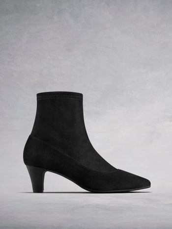 Dalby Black Suede - Sock ankle boots.
