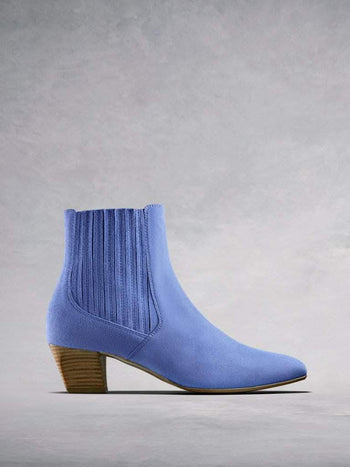 Edison Pastel Blue Suede - Classic yet modern Chelsea boots.